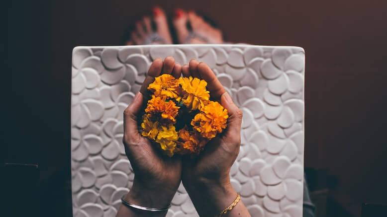 Inderin hält frische Ringelblumen Blätter in den Händen